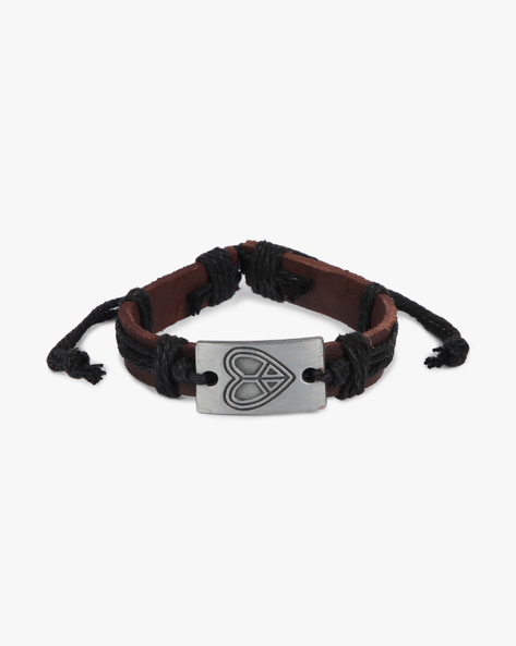 Bracelet With Metallic Accent By ALPHA MAN ( Black )