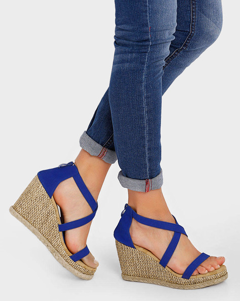 Strappy Wedges With Zip Closure By Get Glamr ( Blue )