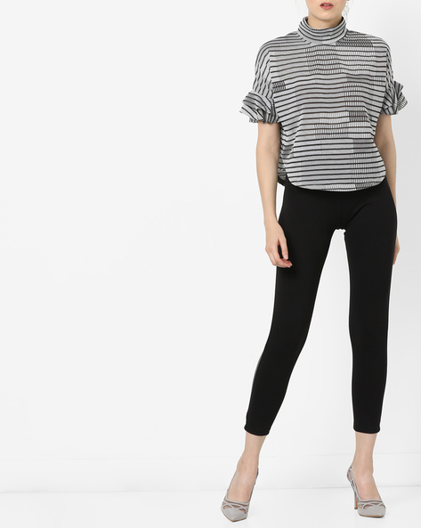 Skinny Fit Treggings With Side Taping By KRAUS ( Black )