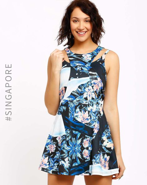 Floral Print Tailored Dress By MDS ( Multi )
