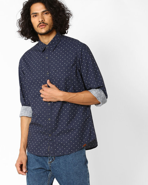 Regular Fit Printed Shirt By INDIAN TERRAIN ( Navy )