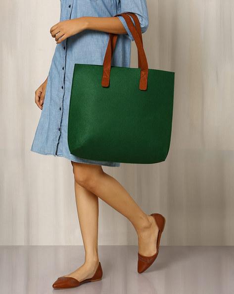 Felt Tote Bag By Indie Picks ( Green )