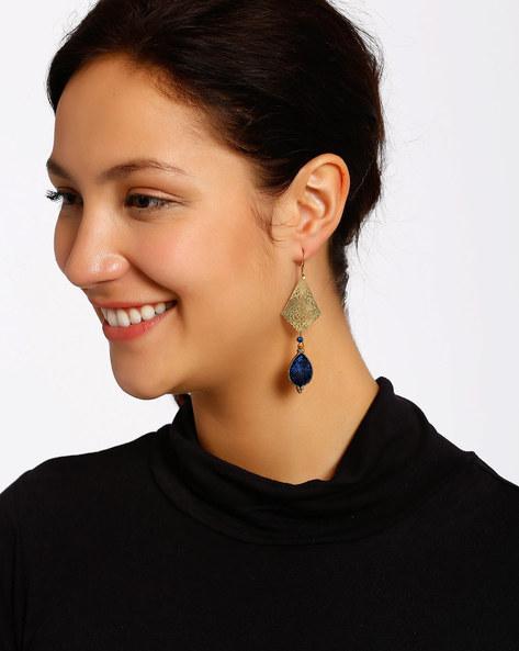 Gold-Plated Dangler Earrings By Shabnam Gitanjali ( Blue )