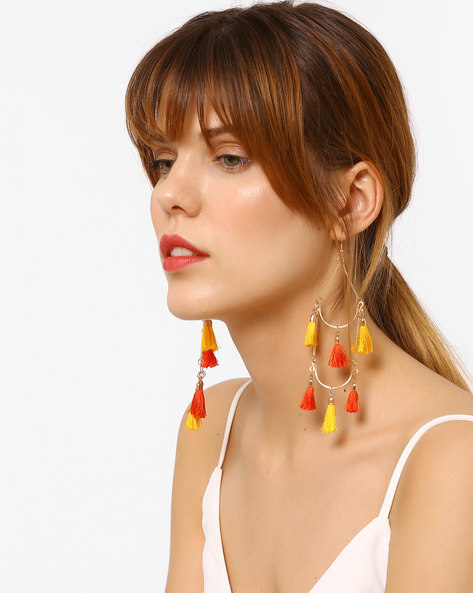 Statement Drop-Earrings With Tassels By BLUEBERRY ( Orange )
