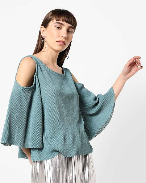 Ribbed Cold-Shoulder Top By AJIO ( Teal )