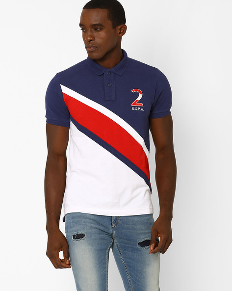 Slim Fit Polo T-shirt By US POLO ( Blue ) - 460036535004