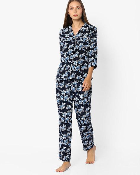 Floral Printed Top & Pyjama Set By Mystere Paris ( Blue )