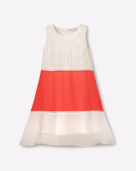 Colourblock A-line Dress By Peppermint ( Peach )