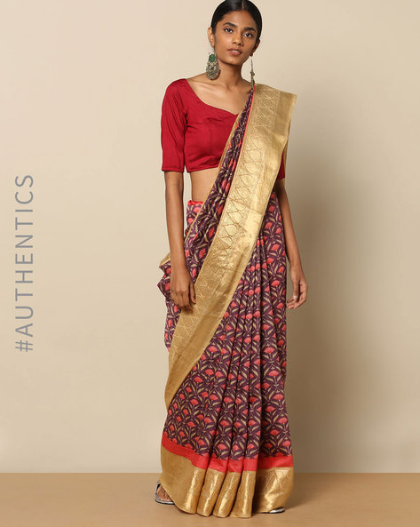 Pure Silk Tussar Lotus Jaal Print Saree By Rudrakaashe-MSU ( Pink )