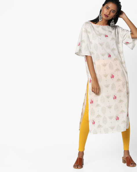 Printed Straight Kurta By AJIO ( Offwhite )