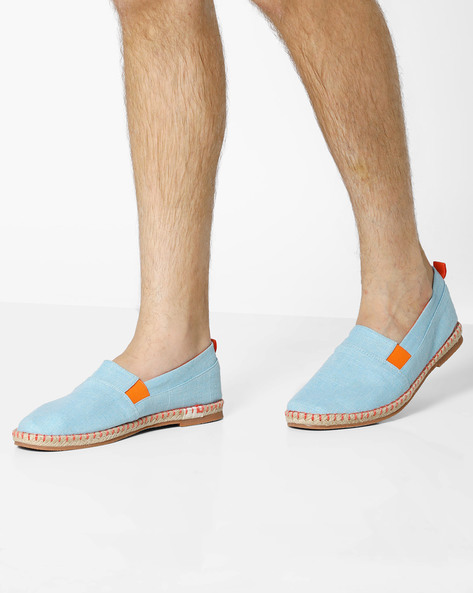 Panelled Espadrilles With Elasticated Gussets By AJIO ( Lightblue )
