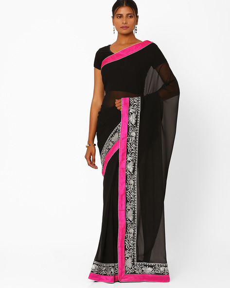 Embroidered Georgette Saree By Florence ( Black )