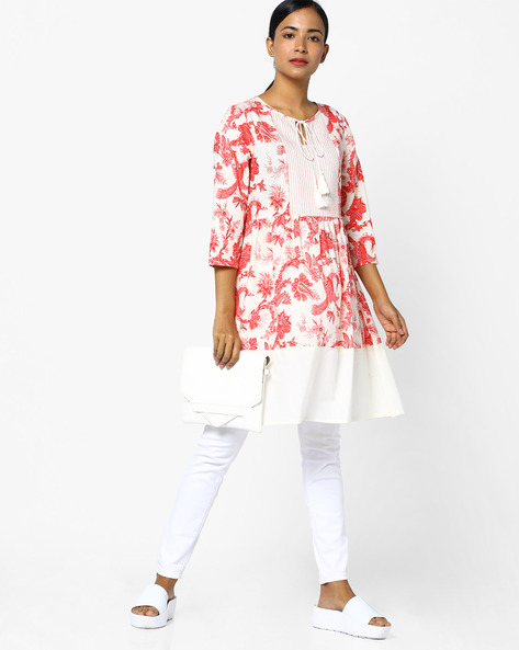 Printed Kurta With Tassel Tie-Up By AJIO ( Ivory )
