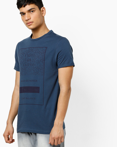 Crew-Neck Graphic Print T-shirt By AJIO ( Darkblue )