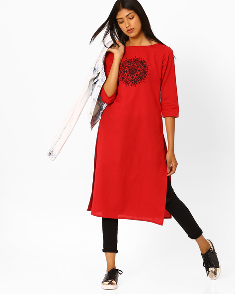 Straight Kurta With Placement Embroidery By AJIO ( Maroon )