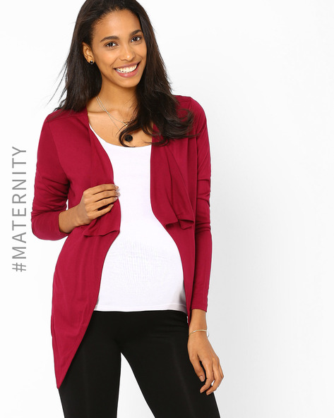 Maternity Shrug With Waterfall Lapel By AJIO ( Maroon )