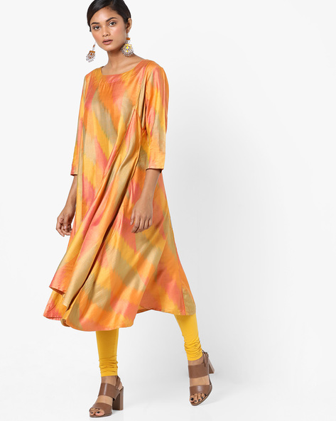 Printed Kurta With Handkerchief Hem By Project Eve IW Evening ( Yellow )