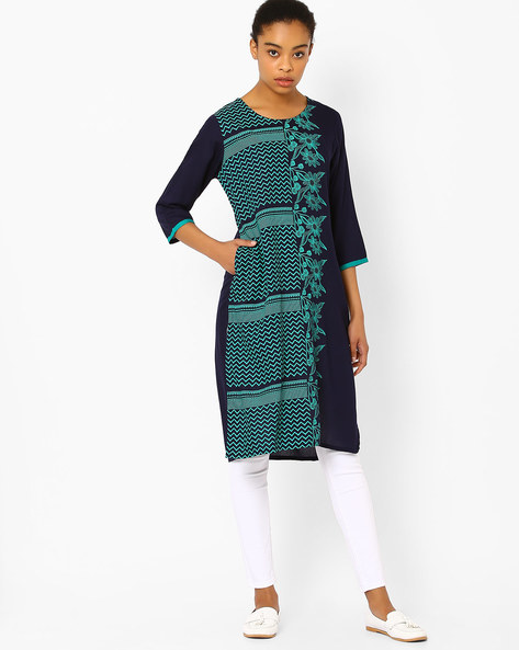 Straight Kurta With Printed Panel By AVAASA MIX N' MATCH ( Navy )