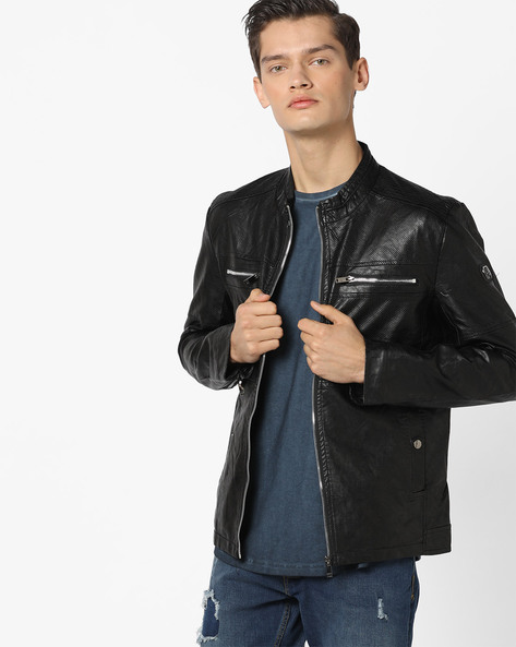 Slim Fit Biker Jacket With Mandarin Collar By The Indian Garage Co ( Black )