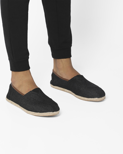 Textured Espadrilles With Panels By AJIO ( Black )
