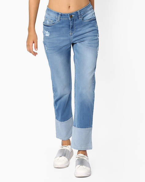 Mid-Rise Denims With Panelled Hems By AJIO ( Lightblue )