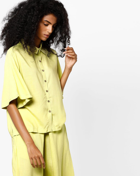 Shirt Top With Bell Sleeves By AJIO ( Green )