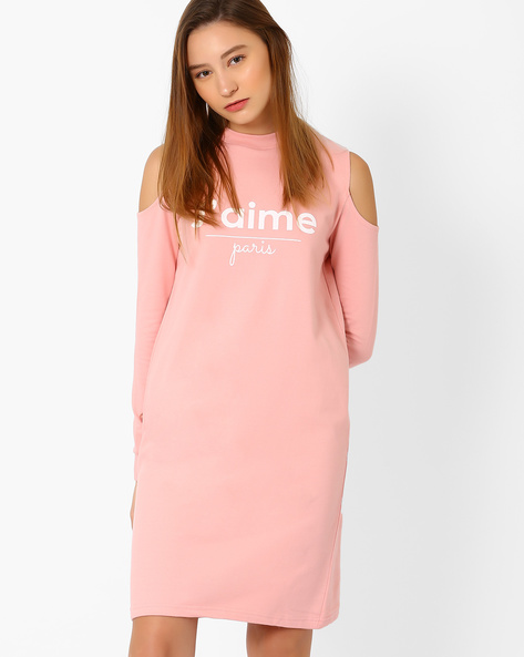 Cold-Shoulder Sweat Dress By Evah London ( Pink )