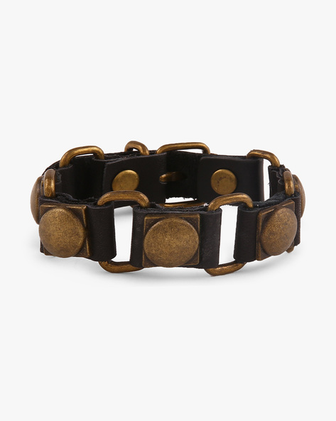 Faux Leather Bracelet With Metallic Studs By ALPHA MAN ( Multicolor ) - 460068300001