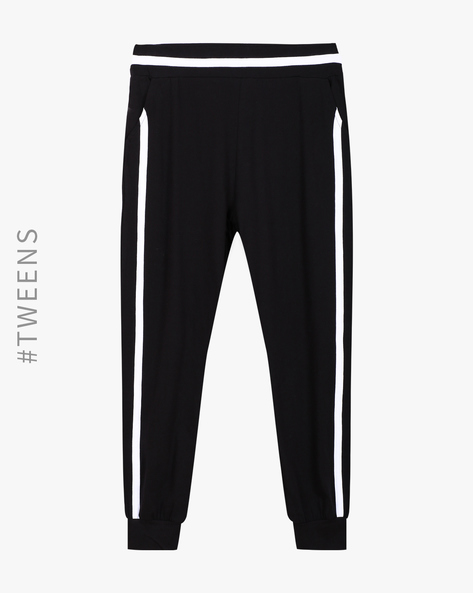 Cuffed Track Pants With Contrast Stripes By AJIO Girl ( Black )