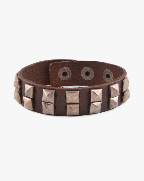 Leather Bracelet With Metallic Studs By Ayesha ( Brown )