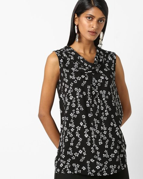 Floral Print Cowl-Neck Top By FIG ( Black )