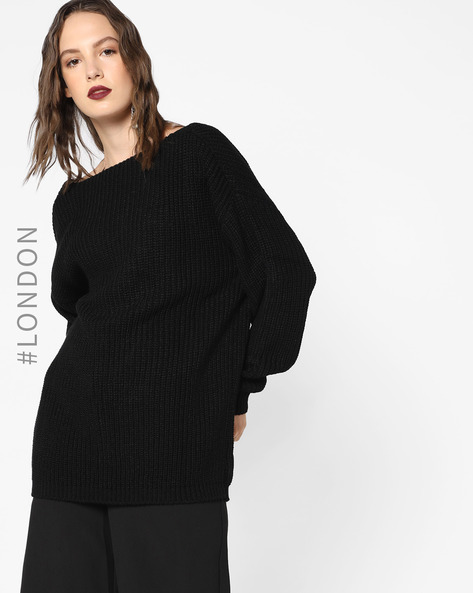 Drop-Shoulder Pullover With Deep Back By Glamorous ( Black )