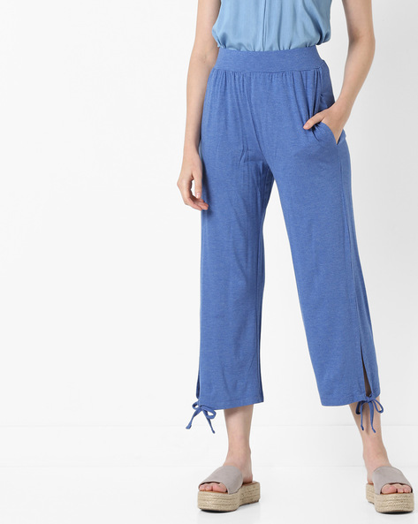 Mid-Rise Pants With Pockets By AJIO ( Blue )