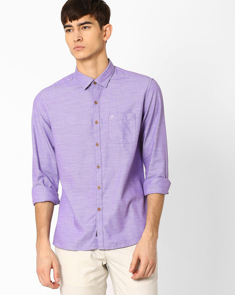 Textured Shirt With Patch Pocket By NETPLAY ( Purple )