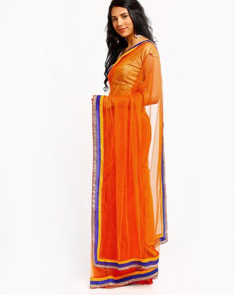 Embroidered Net Saree By RCPC ( Orange )