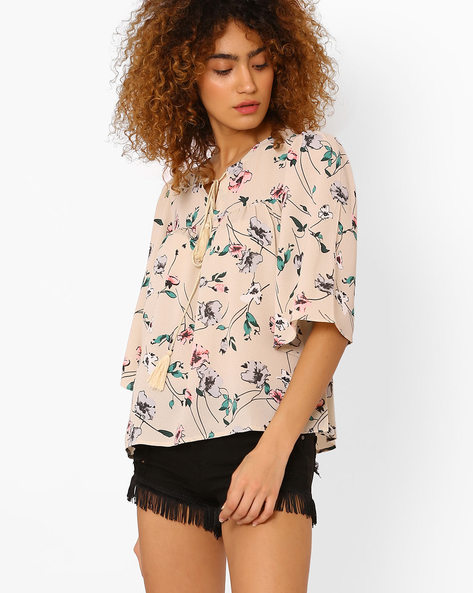 Floral Print Top With Flared Sleeves By FIG ( Offwhite )
