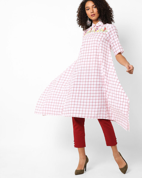 Checked Kurta With Handkerchief Hem By AJIO ( White )