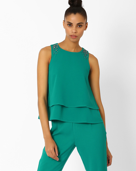 Layered Top With Embellishments By AJIO ( Teal )