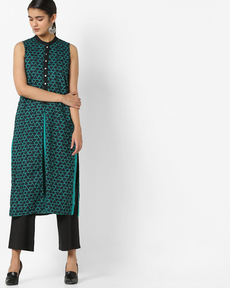 Printed Layered Kurta By Rangmanch By Pantaloons ( Turquoise )