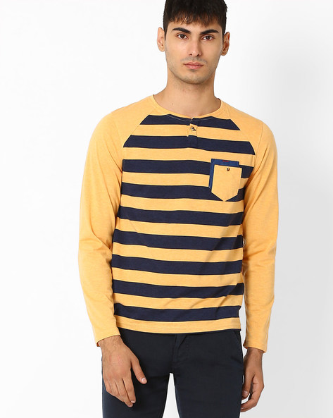 Striped Henley T-shirt With Raglan Sleeves By Fort Collins ( Navy )