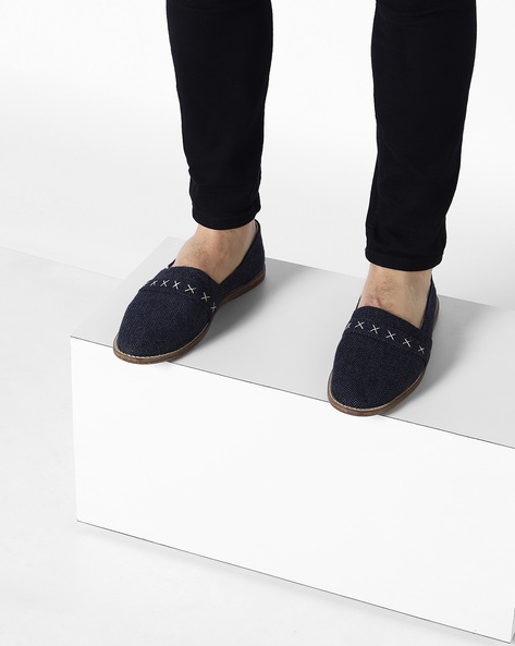 Canvas Slip-Ons With Overlay By Knotty Derby ( Blue )
