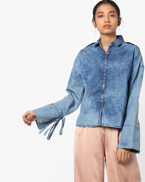 Denim Shirt With Drop Shoulders By AJIO ( Indigo )