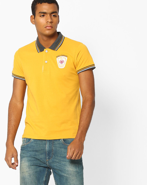 Slim Polo T-shirt With Stripe-Tipped Hems By DUKE ( Yellow )