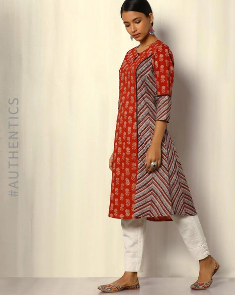 Bagru Handblock Print Cotton Kurta By SWADESH ( Red )