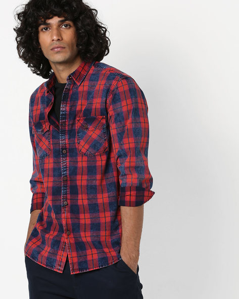 Checked Slim Shirt With Flap Pockets By AJIO ( Red )