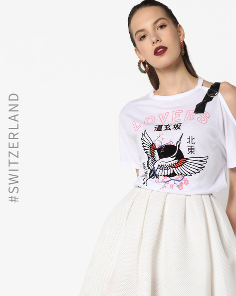Graphic Print T-shirt With Cold-Shoulder Sleeve By TALLY WEiJL ( White )