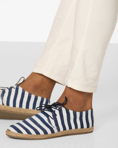 Striped Lace-Up Espadrilles By Blue Saint ( Navy )