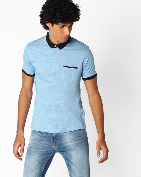 Feeder Jacquard Ringer Polo T-shirt By NETPLAY ( Ltblue )