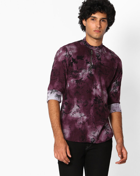 Slim Fit Shirt With Zip Detail By The Indian Garage Co ( Magenta )