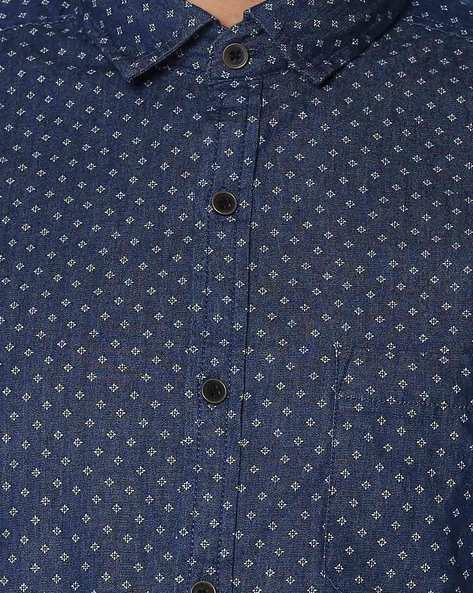 Printed Slim Fit Shirt By NETPLAY ( Darkblue )